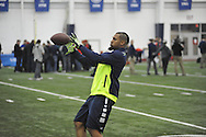 Mississippi wide receiver Donte Moncrief catches a pass during Pro Day, in Oxford, Miss. on Monday, March 3, 2014. (AP Photo/Oxford Eagle, Bruce Newman)