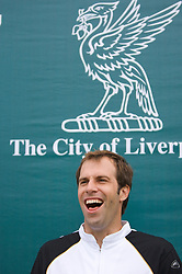 Liverpool, England - Tuesday, June 12, 2007: Greg Rusedski (GBR) watches a spectator in action on day one of the Liverpool International Tennis Tournament at Calderstones Park. For more information visit www.liverpooltennis.co.uk. (Pic by David Rawcliffe/Propaganda)