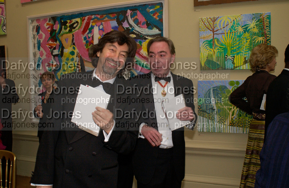 Trevor Nunn and Lord LloydWebber, Royal Academy summer exhibition annual dinner. Picadilly.  2 June 2004. ONE TIME USE ONLY - DO NOT ARCHIVE  © Copyright Photograph by Dafydd Jones 66 Stockwell Park Rd. London SW9 0DA Tel 020 7733 0108 www.dafjones.com