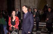 Angus Deayton and Lise Meyer. Johnny English  premiere party, Royal Courts of Justice, The Strand. 6 April 2003. © Copyright Photograph by Dafydd Jones 66 Stockwell Park Rd. London SW9 0DA Tel 020 7733 0108 www.dafjones.com