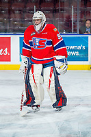 KELOWNA, BC - FEBRUARY 06: Reece Klassen #35 of the Spokane Chiefs stands on the ice during warm up against the Kelowna Rockets at Prospera Place on February 6, 2019 in Kelowna, Canada. (Photo by Marissa Baecker/Getty Images)