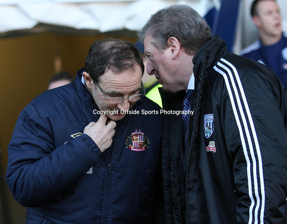 25/02/2012 - Barclays Premier League - West Bromwich Albion vs. Sunderland - Sunderland manager Martin O'Neill (L) greets West Brom manager Roy Hodgson (R) before the match - Photo: Simon Stacpoole / Offside.