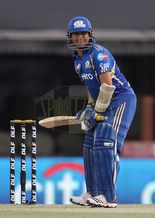 Sachin Tendulkar of the Mumbai Indians during match 33 of the the Indian Premier League (IPL) 2012  between The Kings X1 Punjab and The Mumbai Indians held at the Punjab Cricket Association Stadium, Mohali on the 25th April 2012..Photo by Shaun Roy/IPL/SPORTZPICS