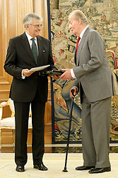 11.09.2012, Palacio de la Zarzuela, Madrid, ESP, Koenig Juan Carlos I. von Spanien bei der Auslieferung des Jahresberichtes des Attorney General des Staates, im Bild King Juan Carlos I of Spain King Juan Carlos I of Spain attends in audience to Eduardo Torres-Dulce Lifante, Public Prosecutor of the State, to make delivery of the Annual Report of the Attorney General of the Stateat Palacio de la Zarzuela, Madrid, Spain on 2013/09/11. EXPA Pictures © 2013, PhotoCredit: EXPA/ Alterphotos/ Acero<br /> <br /> ***** ATTENTION - OUT OF ESP and SUI *****