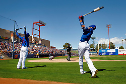March 18, 2018 - Las Vegas, NV, U.S. - LAS VEGAS, NV - MARCH 18: Kris Bryant (17) and Anthony Rizzo (44) of the Cubs warm up in the on-deck circle during a game between the Chicago Cubs and Cleveland Indians as part of Big League Weekend on March 18, 2018 at Cashman Field in Las Vegas, Nevada. (Photo by Jeff Speer/Icon Sportswire) (Credit Image: © Jeff Speer/Icon SMI via ZUMA Press)