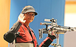 05.09.2015, Olympia Schiessanlage Hochbrueck, Muenchen, GER, ISSF World Cup 2015, Gewehr, Pistole, Damen, 10 Meter Luftgewehr, im Bild Valentina Gustin (CRO) winkend // during the women's 10M air rifle competition of the 2015 ISSF World Cup at the Olympia Schiessanlage Hochbrueck in Muenchen, Germany on 2015/09/05. EXPA Pictures © 2015, PhotoCredit: EXPA/ Eibner-Pressefoto/ Wuest<br /> <br /> *****ATTENTION - OUT of GER*****