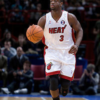 9 October 2008: Dwyane Wade of the Miami Heat brings the ball upcourt during the New Jersey Nets 100-98 overtime victory over the Miami Heat in an exhibition game at Bercy Arena, in Paris, France.