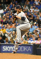 May 8, 2018 - Milwaukee, WI, U.S. - MILWAUKEE, WI - MAY 08: Cleveland Indians Pitcher Zach McAllister (34) delivers a pitch during a MLB game between the Milwaukee Brewers and Cleveland Indians on May 8, 2018 at Miller Park in Milwaukee, WI. The Brewers defeated the Indians 3-2.(Photo by Nick Wosika/Icon Sportswire) (Credit Image: © Nick Wosika/Icon SMI via ZUMA Press)