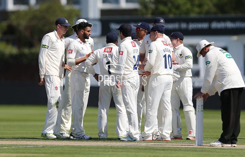 Ajmal Shahzad taking the wicket of Sachithra Senanayake during day 3 of the LV County Championship Div 1 match between Sussex County Cricket Club and Worcestershire County Cricket Club at the BrightonandHoveJobs.com County Ground, Hove, United Kingdom on 21 April 2015.