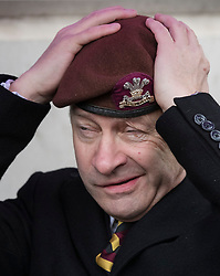 © Licensed to London News Pictures. 03/02/2018. London, UK. UKIP Leader Henry Bolton adjusts his beret of The Royal Hussars, his former British Army regiment, as he takes part in a Veterans for Justice March in central London .Photo credit: Peter Macdiarmid/LNP