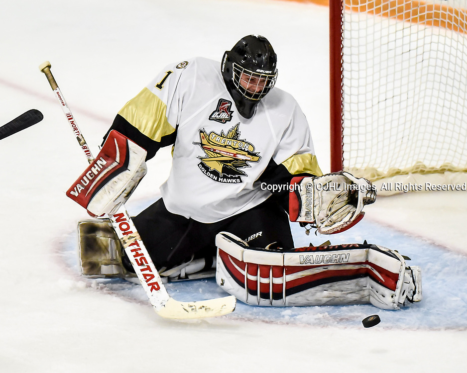 AURORA, ON - SEP 22: Ontario Junior Hockey League game between the Aurora Tigers and the Trenton Golden Hawks on September 22, 2017 in Aurora, Ontario. Carson Poulin #1 of the Trenton Golden Hawks makes the save.<br />  (Photo by Phillip Sutherland / OJHL Images)
