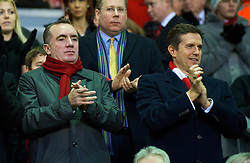 LIVERPOOL, ENGLAND - Sunday, December 13, 2009: Liverpool's commercial director Ian Ayre and managing director Christopher Purslow during the Premiership match at Anfield. (Photo by: David Rawcliffe/Propaganda)