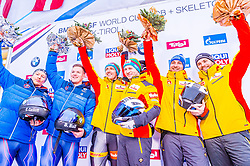 18.01.2020, Olympia Eiskanal, Innsbruck, AUT, BMW IBSF Weltcup Bob und Skeleton, Igls, Bob Zweisitzer, Herren, Siegerehrung, im Bild v.l. Greg Cackett, Brad Hall (GBR), Thorsten Margis, Francesco Friedrich (GER), Richard Oelsner, Tobias Schneider (GER) // f.l. Greg Cackett Brad Hall of United Kingdom Thorsten Margis Francesco Friedrich of Germany and Richard Oelsner Tobias Schneider of Germany during the winner ceremony for the men's doubles Bobsleigh of BMW IBSF World Cup at the Olympia Eiskanal in Innsbruck, Austria on 2020/01/18. EXPA Pictures © 2020, PhotoCredit: EXPA/ Stefan Adelsberger
