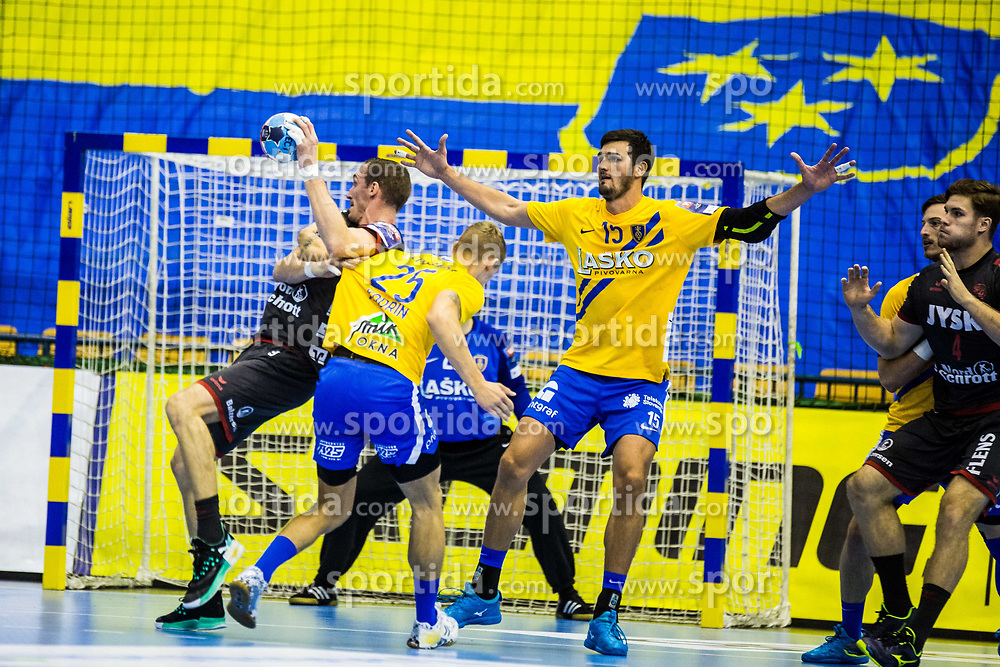 Nenad Drasko of RK Celje Pivovarna Lasko and Kodrin Tilen of RK Celje Pivovarna Lasko during handball match between RK Celje Pivovarna Lasko (SLO) and SG Flensburg Handewitt (GER) in 3rd Round of EHF Men's Champions League 2018/19, on September 30, 2018 in Arena Zlatorog, Celje, Slovenia. Photo by Grega Valancic / Sportida