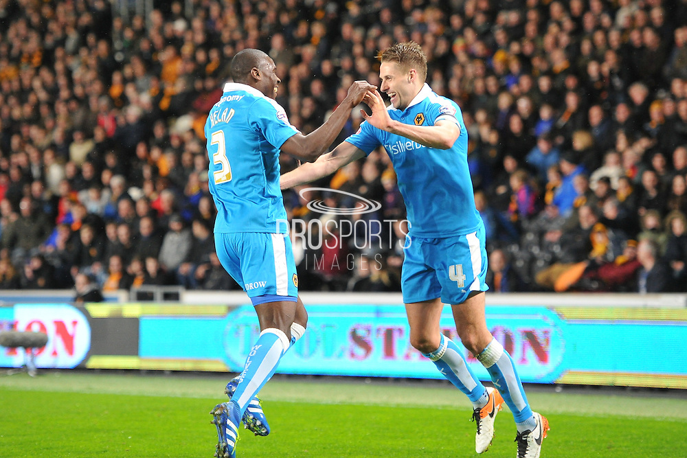 Wolverhampton Wanderers midfielder Dave Edwards (4) celebrates scoring goal  with Jeremy Helan (3) of Wolverhampton Wanderers  to go 1 all  during the Sky Bet Championship match between Hull City and Wolverhampton Wanderers at the KC Stadium, Kingston upon Hull, England on 15 April 2016. Photo by Ian Lyall.