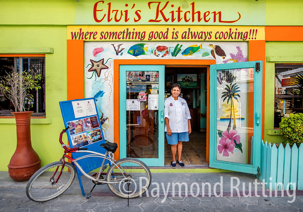 Belize - San Pedro- Isla Bonita- Chef Jennie Staines, daughter of Ms. Elvi Staines in front of restaurant Elvi's Kitchen. photo raymond rutting