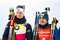 March 10, 2019 - –Stersund, Sweden - 190310 Johannes Thingnes Bö of Norway and Dmytro Pidruchnyi of Ukraine after the Men's 12,5 km Pursuit during the IBU World Championships Biathlon on March 10, 2019 in Östersund..Photo: Petter Arvidson / BILDBYRÃ…N / kod PA / 92255 (Credit Image: © Petter Arvidson/Bildbyran via ZUMA Press)