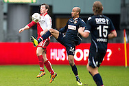 Onderwerp/Subject: FC Utrecht - Willem II - Eredivisie<br /> Reklame:  <br /> Club/Team/Country: <br /> Seizoen/Season: 2012/2013<br /> FOTO/PHOTO: Cedric VAN DER GUN (L) of FC Utrecht in duel with Philipp HAASTRUP (C) of Willem II and Niek VOSSEBELT (R) of Willem II. (Photo by PICS UNITED)<br /> <br /> Trefwoorden/Keywords: <br /> #04 $94 ±1354626289759<br /> Photo- & Copyrights © PICS UNITED <br /> P.O. Box 7164 - 5605 BE  EINDHOVEN (THE NETHERLANDS) <br /> Phone +31 (0)40 296 28 00 <br /> Fax +31 (0) 40 248 47 43 <br /> http://www.pics-united.com <br /> e-mail : sales@pics-united.com (If you would like to raise any issues regarding any aspects of products / service of PICS UNITED) or <br /> e-mail : sales@pics-united.com   <br /> <br /> ATTENTIE: <br /> Publicatie ook bij aanbieding door derden is slechts toegestaan na verkregen toestemming van Pics United. <br /> VOLLEDIGE NAAMSVERMELDING IS VERPLICHT! (© PICS UNITED/Naam Fotograaf, zie veld 4 van de bestandsinfo 'credits') <br /> ATTENTION:  <br /> © Pics United. Reproduction/publication of this photo by any parties is only permitted after authorisation is sought and obtained from  PICS UNITED- THE NETHERLANDS