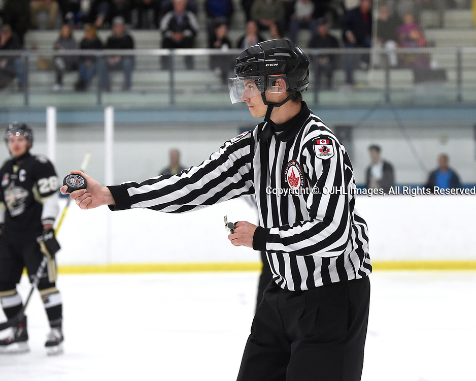 GEORGETOWN, ON - APR 18,  2017: Ontario Junior Hockey League, Championship Series. Georgetown Raiders vs the Trenton Golden Hawks in Game 3 of the Buckland Cup Final.  OHA Linesman Marc Beneditti during the third period.<br /> (Photo by Andy Corneau / OJHL Images)