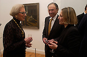Robert and Maurine Rothschild, ( in front of the  the 1912 painting they loaned to the exhibition )  with the director, Roberta Cremoncini,  Giorgio de Chirico and the Myth of Ariadne, Estorick Collection, London. 21 January 2003. © Copyright Photograph by Dafydd Jones 66 Stockwell Park Rd. London SW9 0DA Tel 020 7733 0108 www.dafjones.com