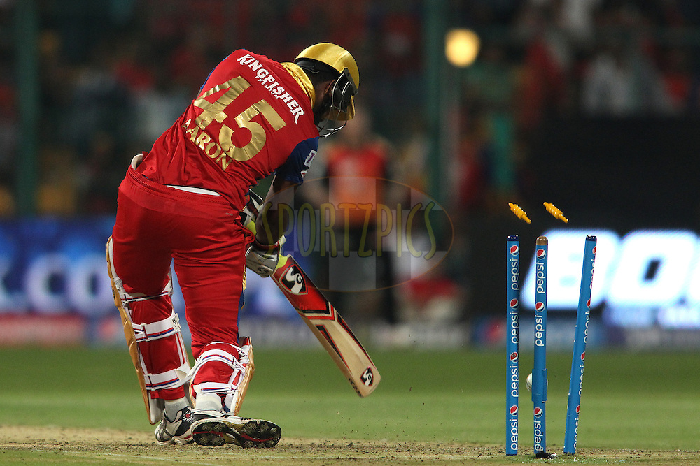 Varun Aaron of the Royal Challengers Bangalore is bowled by Bhuvneshwar Kumar of Sunrisers Hyderabad during match 8 of the Pepsi IPL 2015 (Indian Premier League) between The Royal Challengers Bangalore and The Sunrisers Hyderabad held at the M. Chinnaswamy Stadium in Bengaluru, India on the 12th April 2015.<br /> <br /> Photo by:  Shaun Roy / SPORTZPICS / IPL