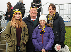 Maria Glas, Michael Grealis, Amy Pinder and Linda Pinder supporting Louisburgh at the All Ireland Club semi-final in Ennis.<br />
