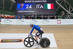 March 2, 2019 - Pruszkow, Poland - Italy's Simone Consonni competes on day four of the UCI Track Cycling World Championships held in the BGZ BNP Paribas Velodrome Arena on March 02 2019 in Pruszkow, Poland. (Credit Image: © Foto Olimpik/NurPhoto via ZUMA Press)