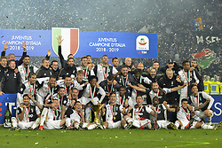 May 19, 2019 - Turin, Turin, Italy - Juventus FC players celebrate the trophy of Scudetto  2018-2019 at Allianz Stadium, Turin (Credit Image: © Antonio Polia/Pacific Press via ZUMA Wire)
