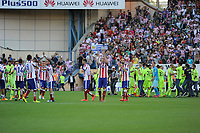 Atletico de Madrid´s than's the supporters during 2014-15 La Liga match between Atletico de Madrid and FC Barcelona at Vicente Calderon stadium in Madrid, Spain. May 17, 2015. (ALTERPHOTOS/Luis Fernandez)