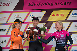 Lisa Brennauer (GER) of CANYON//SRAM Racing celebrates winning the prologue of the Lotto Thuringen Ladies Tour - a 6.1 km individual time trial, starting and finishing in Gera on July 12, 2017, in Thuringen, Germany. (Photo by Balint Hamvas/Velofocus.com)