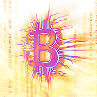 Bitcoin ₿ cryptocurrency in blockchain network, digital currency symbol, conceptual illustration in bright glowing purple yellow colors