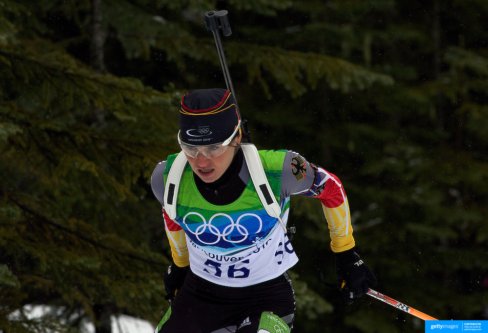 Winter Olympics, Vancouver, 2010. Andrea Henkel, Germany, in action during the Women's 7.5 KM Sprint Biathlon at The Whistler Olympic Park, Whistler, during the Vancouver  Winter Olympics. 13th February 2010. Photo Tim Clayton