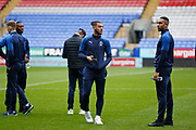 Nesta Guinness-Walker of Wimbledon and Terell Thomas of Wimbledon inspecting the pitch during the EFL Sky Bet League 1 match between Bolton Wanderers and AFC Wimbledon at the University of  Bolton Stadium, Bolton, England on 7 December 2019.