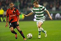 FOOTBALL - UEFA EUROPA LEAGUE 2011/2012 - GROUP STAGE - GROUP I - STADE RENNAIS v CELTIC - 20/10/2011 - PHOTO PASCAL ALLEE / DPPI - JAMES FORREST  (GLA) / YASSINE JEBBOUR (REN)