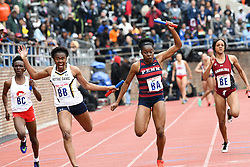 April 27, 2018 - Philadelphia, Pennsylvania, U.S - A runner from Hampton Univerity  in action during the CW 4x100 qualifying heats at the 124th running of the Penn Relays at Franklin Field in Philadelphia PA (Credit Image: © Ricky Fitchett via ZUMA Wire)