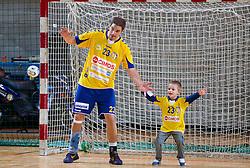 Nikola Manojlovic with his son after the handball match between RK Cimos Koper and RK Gorenje Velenje in 8th Round of 1st NLB Leasing League 2012/13 on October 27, 2012 in Arena Bonifika, Koper, Slovenia. Cimos Koper defeated Gorenje Velenje 28-23. (Photo By Vid Ponikvar / Sportida)