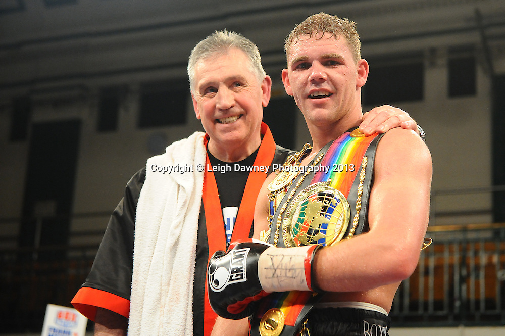 Billy Joe Saunders (pictured with trainer Jimmy Tibbs) defeats Matthew Hall for the British & Commonwealth Middleweight Title at York Hall, Bethnal Green, London, UK on the 21st March 2013. Frank Warren Promotions. © Leigh Dawney Photography 2013.