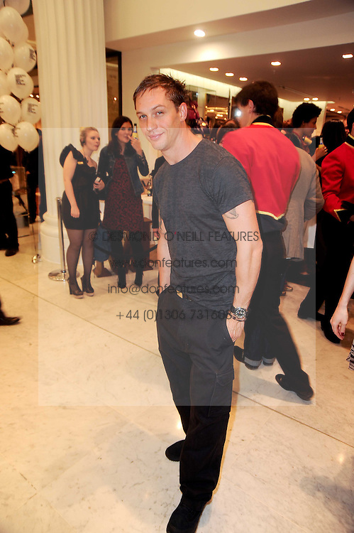TOM HARDY at the Mulberry outlet in Selfridge's, Oxford Street as part of Fashion's Night Out held around London on 8th September 2010.