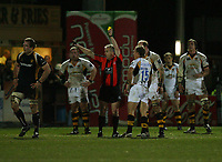 Photo: Rich Eaton.<br /> <br /> Worcester Rugby v London Wasps. Guinness Premiership. 26/01/2007. Mark van Gisbergen of Wasps #15 sin  binned for a late tackle on Matt Powell