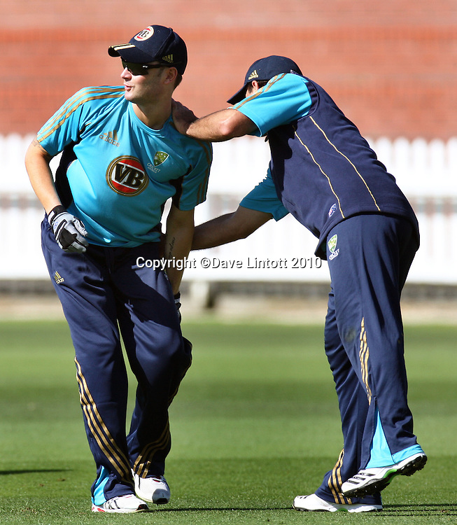 Ricky Ponting punishes Michael Clarke for dropping a ball in slips practice.<br /> Australian cricket training at Allied Prime Basin Reserve, Wellington. Tuesday, 16 March 2010. Photo: Dave Lintott/PHOTOSPORT