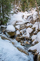 Humpback Creek on a beautiful sunny and snowy winter day near the top of Washington's Snoqualmie Pass east of Seattle on the Annette Lake Trail.