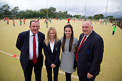 CARDIFF, WALES - Tuesday, August 21, 2014: FAW's President Trefor Lloyd-Hughes [R], Vice-President Dai Alun Jones [L], Trisha Turner [2nd L] and Gwennan Harries at the launch of the first Live Your Goals festival in Cardiff. (Pic by David Rawcliffe/Propaganda)