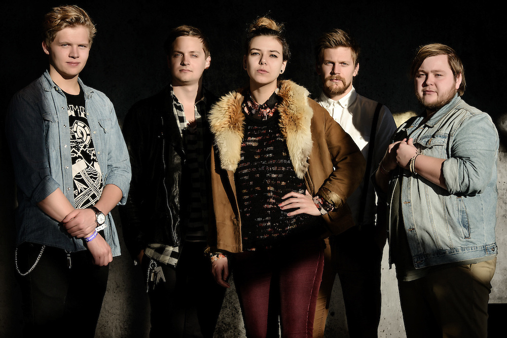 Portraits of the Icelandic band Of Monsters And Men taken on-location at Harpa Concert Hall in Reykjavik, Iceland. October 31, 2012. Copyright © 2012 Matthew Eisman. All Rights Reserved.