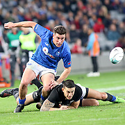 American Samoa's own Jerome Kaino, Sony Bill Williams are unable to secure the ball due to ferocious Manu Samoa aggressive defense.  The New Zealand All Blacks defeated Manu Samoa 15's 83-0 at Eden Park, Auckland, New Zealand.  Photo by Barry Markowitz, 6/16/17