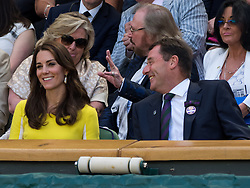 LONDON, ENGLAND - Thursday, July 7, 2016:  The Dutchess of Cambridge (Kate Middleton) having a fun moment during the Ladies' Singles - Semi-finals match on day eleven of the Wimbledon Lawn Tennis Championships at the All England Lawn Tennis and Croquet Club. (Pic by Kirsten Holst/Propaganda)