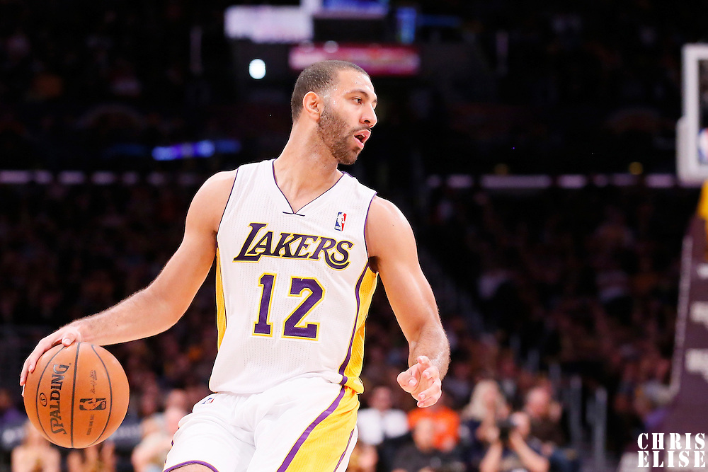 05 January 2014: Los Angeles Lakers point guard Kendall Marshall (12) is seen during the Denver Nuggets 137-115 victory over the Los Angeles Lakers at the Staples Center, Los Angeles, California, USA.
