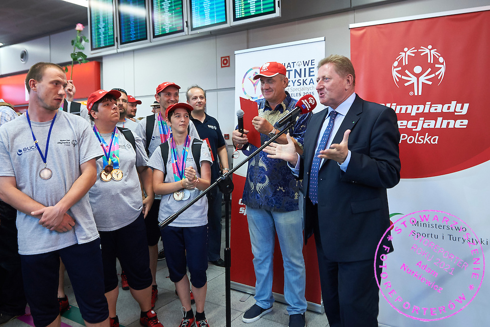 Official welcome of the Special Olympics Poland Team on August 4, 2015 at Okecie Airport in Warsaw, Poland.<br /> Poland, Warsaw, August 4, 2015<br /> <br /> Picture also available in RAW (NEF) or TIFF format on special request.<br /> <br /> For editorial use only. Any commercial or promotional use requires permission.<br /> <br /> Adam Nurkiewicz declares that he has no rights to the image of people at the photographs of his authorship.<br /> <br /> Mandatory credit:<br /> Photo by &copy; Adam Nurkiewicz / Mediasport