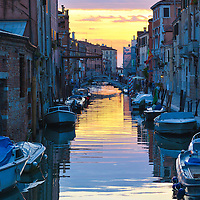 Sunset in Venice, Italy, Cannaregio district