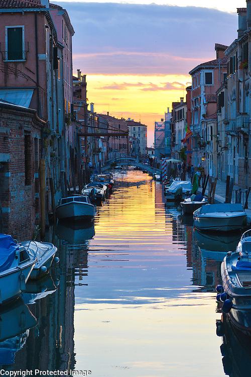 Sunset in Venice, Italy, Cannaregio district