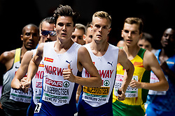 August 10, 2018 - Berlin, GERMANY - 180810 Jakob, Filip and Henrik Ingebrigtsen of Norway during the men's 1500 meter final during the European Athletics Championships on August 10, 2018 in Berlin..Photo: Vegard Wivestad GrÂ¿tt / BILDBYRN / kod VG / 170201 (Credit Image: © Vegard Wivestad Gr¯Tt/Bildbyran via ZUMA Press)